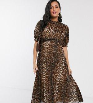 Платье миди с пышными рукавами, леопардовым принтом и плиссированной юбкой ASOS DESIGN Maternity-Мульти Maternity