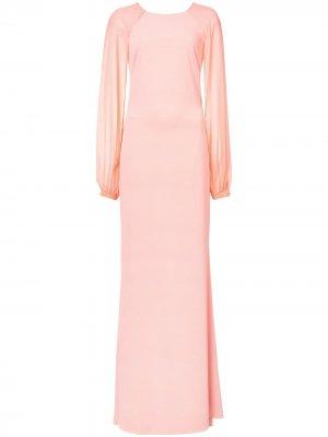 Вечернее платье с длинными рукавами Badgley Mischka. Цвет: розовый