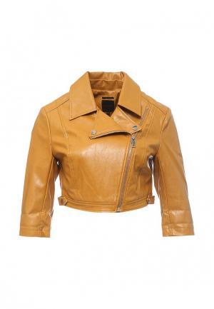 Куртка кожаная Silvian Heach. Цвет: желтый