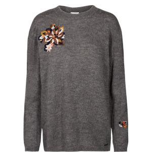 Пуловер с вышивкой NUMPH. Цвет: серый меланж