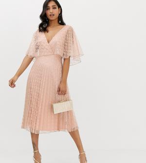 Кружевное платье миди с рукавами клеш и плиссированной юбкой -Бежевый ASOS DESIGN