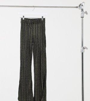 Расклешенные брюки с золотистыми блестками от комплекта -Черный Noisy May Petite