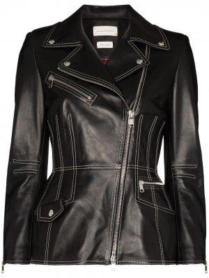 Байкерская куртка с контрастной строчкой Alexander McQueen. Цвет: черный