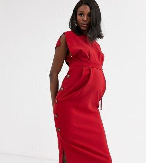 Платье миди с юбкой на пуговицах и разрезами рукавах ASOS DESIGN Maternity-Красный Maternity