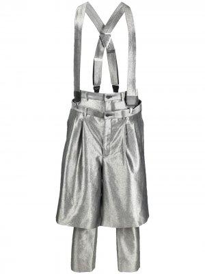 Многослойные брюки с подтяжками Comme Des Garçons Homme Plus. Цвет: серебристый