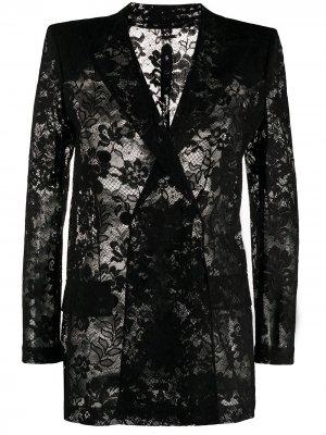 Двубортный кружевной пиджак Givenchy. Цвет: черный