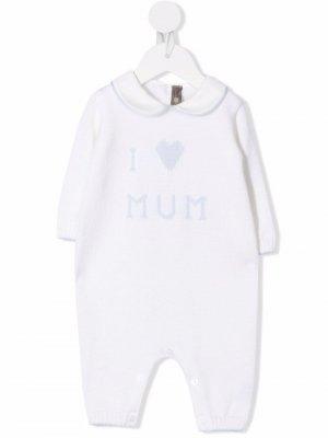 Slogan long-sleeve babygrow Little Bear. Цвет: белый