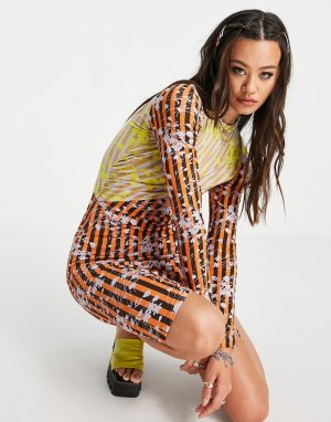 Платье миди с контрастной вставкой House of 99-Multi Holland
