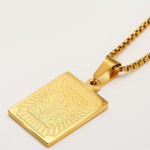 Мужское ожерелье с буквой и геометрическим декором SHEIN. Цвет: золотистый