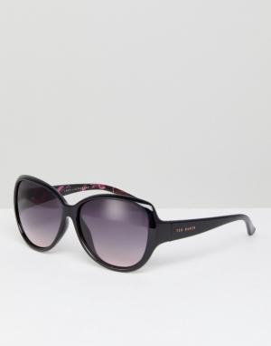 Черные большие солнцезащитные очки TB1394 011 Shay Ted Baker. Цвет: черный