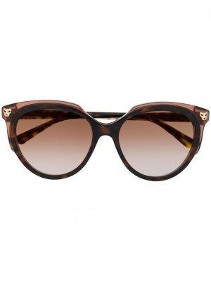 Солнцезащитные очки Panthère Cartier. Цвет: коричневый