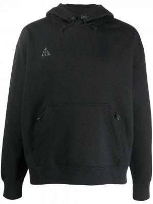 Толстовка с капюшоном и вышитым логотипом Nike. Цвет: черный