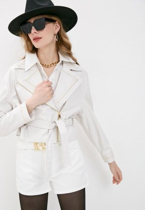 Куртка кожаная Pinko. Цвет: белый
