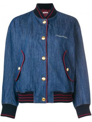 Джинсовая куртка-бомбер в университетском стиле Miu. Цвет: синий