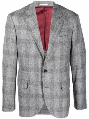 Однобортный пиджак с заостренными лацканами Brunello Cucinelli. Цвет: серый