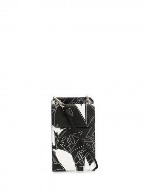Кошелек с ремешком и принтом Ports V. Цвет: черный