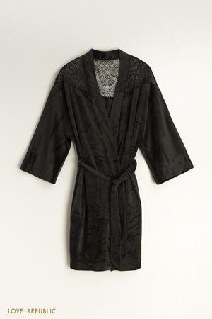 Велюровый халат с кружевом LOVE REPUBLIC