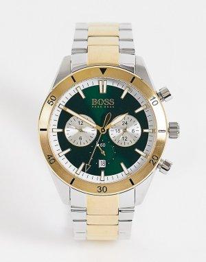 Мужские часы-браслет из комбинированных металлов золотистого цвета Boss-Золотистый BOSS