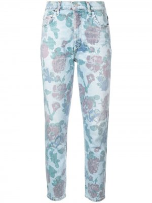 Зауженные джинсы с цветочным принтом Citizens Of Humanity. Цвет: синий