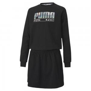 Детское платье Alpha Dress PUMA. Цвет: черный