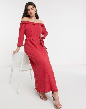 Красное платье с открытыми плечами и вышивкой -Красный Elvi