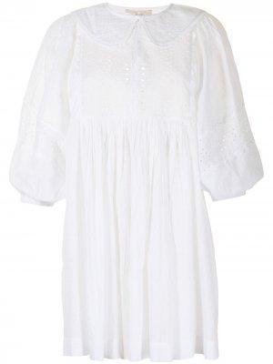 Платье мини с закругленным воротником byTiMo. Цвет: белый