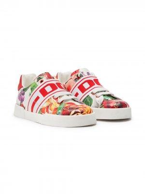 Слипоны с цветочным принтом Dolce & Gabbana Kids. Цвет: белый