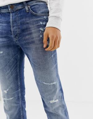 Узкие джинсы Originals Jack & Jones. Цвет: синий