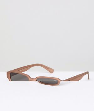 Солнцезащитные очки в квадратной коричневой оправе festival collection sofia richie strange love Quay Australia. Цвет: черный