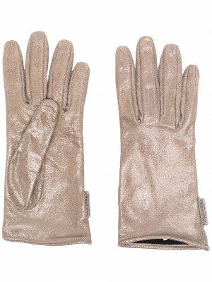 Slip-on fitted gloves Brunello Cucinelli. Цвет: коричневый