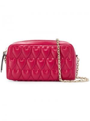 Стеганая сумка на плечо с логотипом Red Valentino. Цвет: красный
