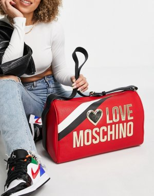 Красная дорожная сумка-тоут с большим логотипом -Красный Love Moschino