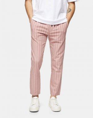 Розовые брюки-джоггеры в полоску -Розовый Topman