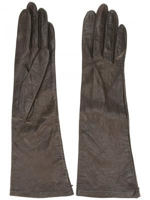 Перчатки средней длины Yves Saint Laurent Pre-Owned. Цвет: коричневый