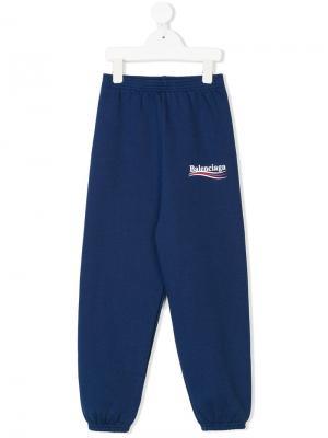 Спортивные брюки Balenciaga Kids. Цвет: синий