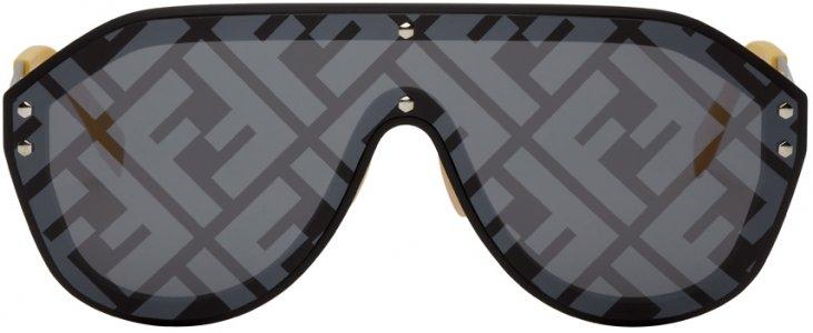 Black & Yellow Fabulous Shield Sunglasses Fendi. Цвет: 071c blck yllw