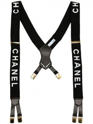 Подтяжки 1997-х годов с логотипом Chanel Pre-Owned. Цвет: черный