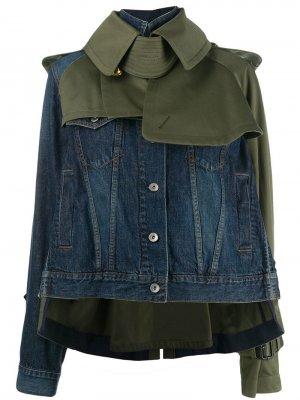 Джинсовая куртка-тренч Sacai. Цвет: синий