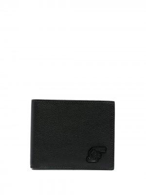 Кошелек из зернистой кожи с аппликацией Salvatore Ferragamo. Цвет: черный