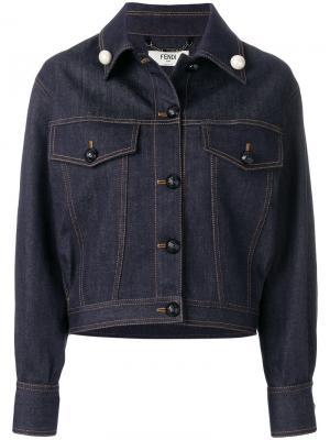 Укороченная джинсовая куртка Fendi. Цвет: синий