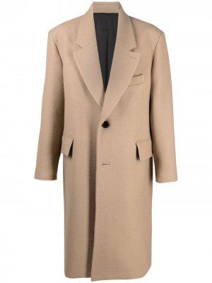 Однобортное пальто AMI Paris. Цвет: нейтральные цвета