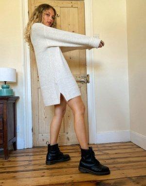 Вязаное платье мини серовато-бежевого цвета с воротником-стойкой -Кремовый Topshop