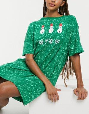 Зеленое пижамное платье из органического хлопка с принтом снеговика Toonie-Зеленый Monki
