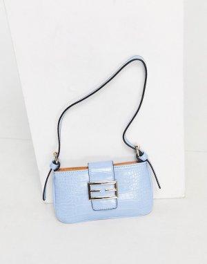 Голубая сумка на плечо в стиле 90-х с пряжкой спереди и крокодиловым принтом Ego-Голубой EGO