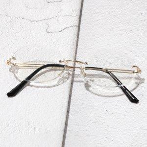 Мужские очки с защитой от синего света без оправы SHEIN. Цвет: золотистый