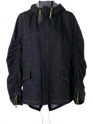 Присборенная джинсовая куртка Marni. Цвет: синий