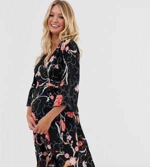 Платье с цветочным принтом Mamalicious Maternity-Черный Junarose