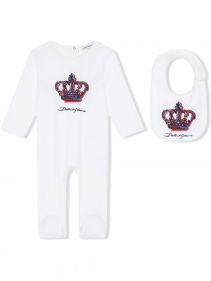 Комплект из комбинезона и нагрудника с принтом DG Crown Dolce & Gabbana Kids. Цвет: белый