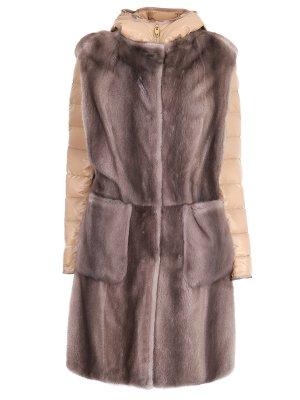 Куртка и меховой жилет Gianfranco Ferre. Цвет: бежевый
