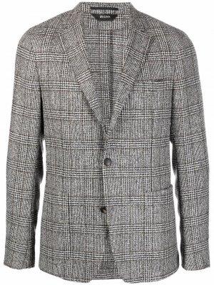 Однобортный пиджак в клетку Z Zegna. Цвет: серый